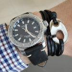 Черный кожаный браслет с морским крюком и ремешк HIRSCH Ranger