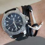 Черный кожаный браслет с якорем и ремешок HIRSCH Ranger