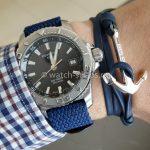 Синий кожаный браслет с якорем и перлоновый ремешок