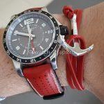 Красный кожаный браслет с якорем с ремешком HIRSCH Tiger